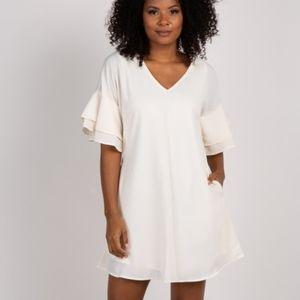 Pinkblush Cream Flounce Sleeve Maternity Dress